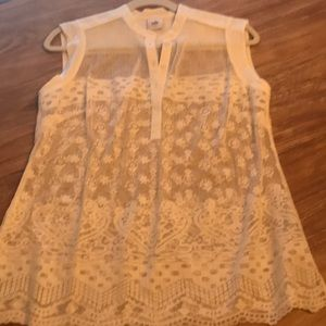 Size S- Never worn white lace Cabi shirt